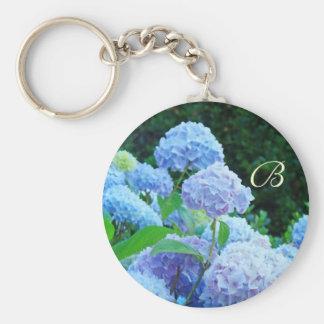 Monogram keychain Blue Hydrangea Flowers