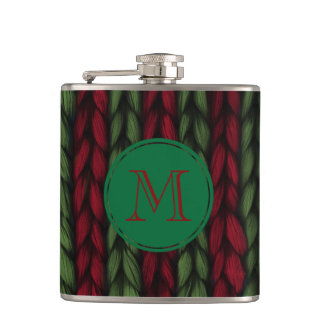 Monogram Knit red and Green Hip Flask