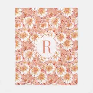 Monogram KOMBUCHA-CHA Peach Tropical Hibiscus Fleece Blanket