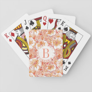 Monogram KOMBUCHA-CHA Peach Tropical Hibiscus Poker Deck