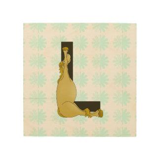 Monogram L Cartoon Pony Personalised Wood Prints