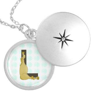 Monogram L Flexible Horse Personalised Round Locket Necklace