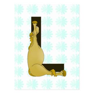 Monogram L Flexible Horse Personalised Postcard