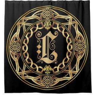 Monogram L Shower Curt Customize Change Back Color Shower Curtain