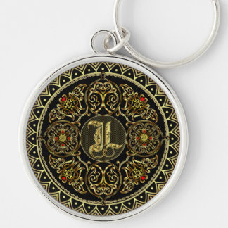 Monogram L Silver-Colored Round Key Ring