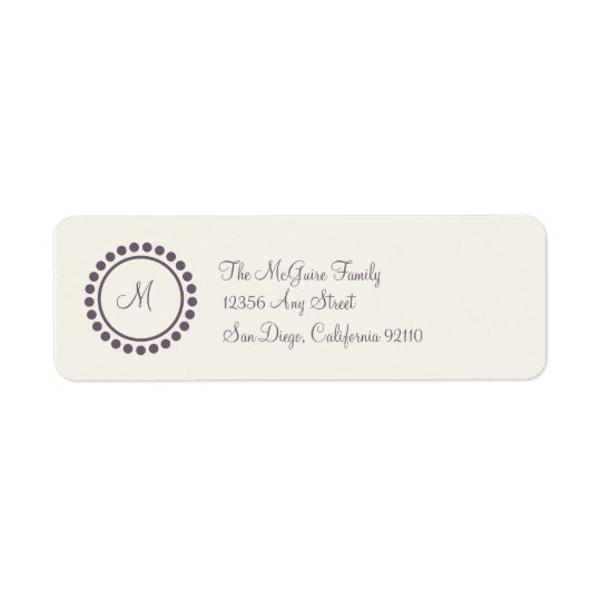 Monogram Label (plum) Return Address Label