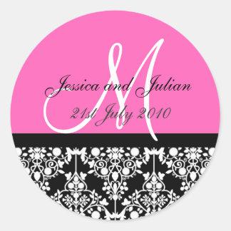 Monogram Labels - Hot Pink/Black Damask Trellis Round Sticker