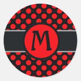 Monogram lady Polka dot - Custom  background Classic Round Sticker