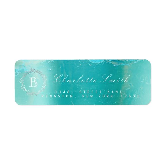 Monogram  Laurel Wreath Ocean Blue Return Address Return Address Label