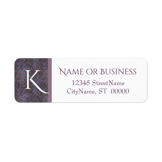 Monogram Lavender Blue Orange Waves Return Address Label