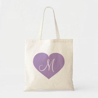Monogram lavender heart tote bag
