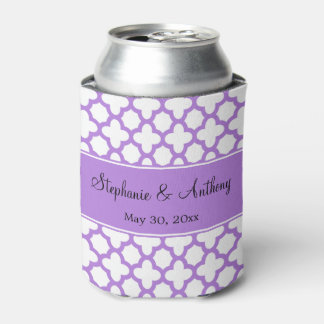 Monogram Lavender Quatrefoil Pattern Wedding Can Cooler