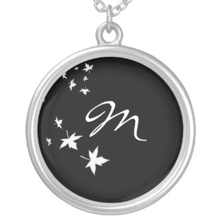 Monogram Leaf Black & White Silver Chain Necklace