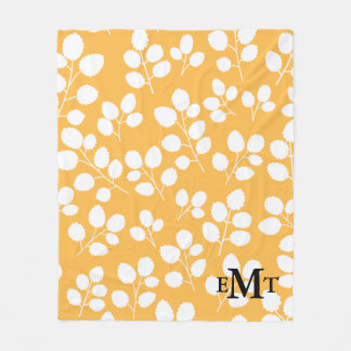 Monogram Leaf Pattern Fleece Blanket