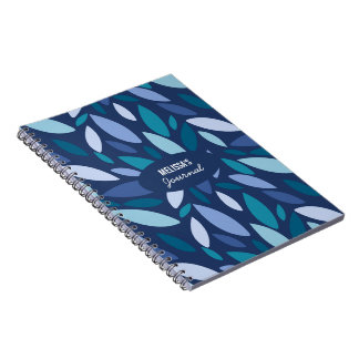 Monogram leaf shapes blue seafoam colors notebook