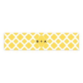 Monogram Lemon Yellow and White Quatrefoil Pattern Napkin Band