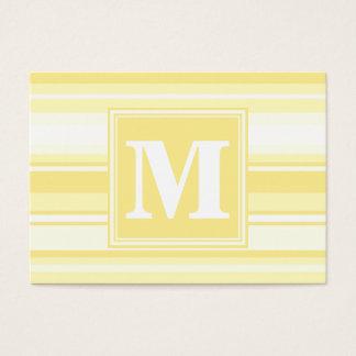 Monogram lemon yellow stripes business card