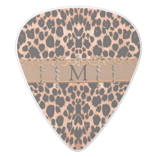 Monogram Leopard and Leather Guitar Pick White Delrin Guitar Pick