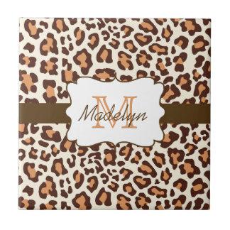 Monogram Leopard Brown Tan Cream Ceramic Tile