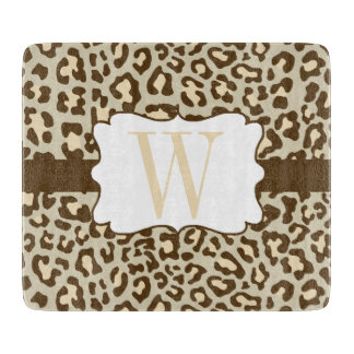 Monogram Leopard Brown Tan Peach Cutting Board