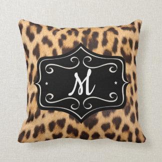 Monogram Leopard Print Cotton Pillow