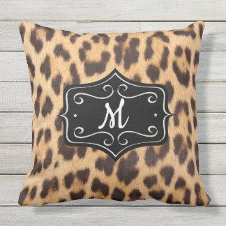 Monogram Leopard Print Outdoor 20X20 Pillow