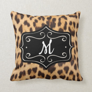 Monogram Leopard Print Pillow