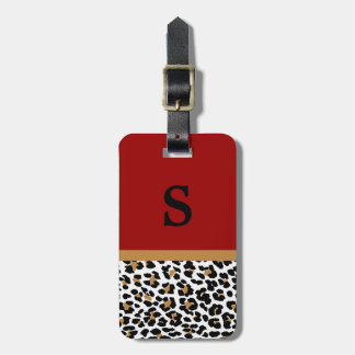 Monogram Leopard Print Red Accent Luggage Tag