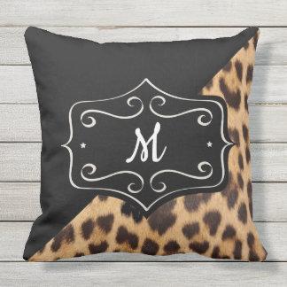 Monogram Leopard Print Retro Outdoor 20X20 Pillow