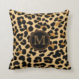 Monogram Leopard Print Throw Pillow