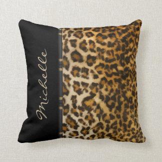 Monogram Leopard Style Throw Pillows