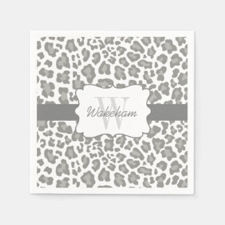 Monogram Leopard White and Gray Cocktail Napkin Disposable Napkins