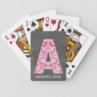 Monogram Letter A - Hot Pink Damask Pattern Playing Cards