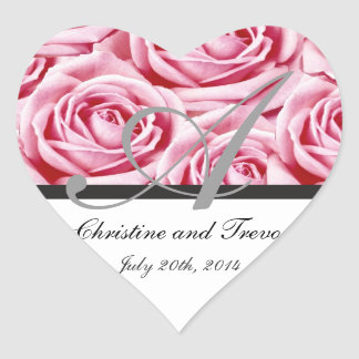Monogram Letter A Pink Roses Sticker