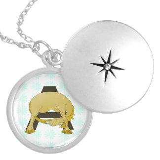 Monogram  Letter A Pony Round Locket Necklace