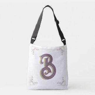 Monogram Letter B, Elegant Vintage Style Crossbody Bag