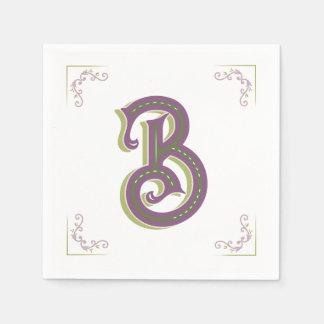 Monogram Letter B, Elegant Vintage Style Disposable Napkin