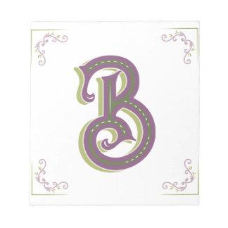 Monogram Letter B, Elegant Vintage Style Notepad