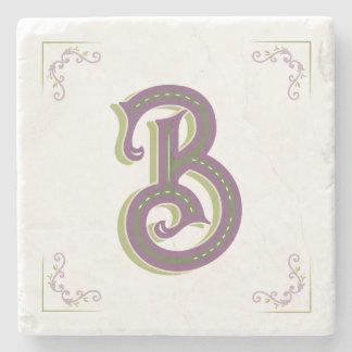 Monogram Letter B, Elegant Vintage Style Stone Coaster