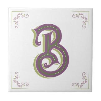 Monogram Letter B, Elegant Vintage Style Tile
