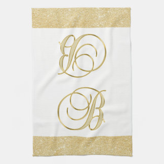 Monogram Letter B Gold Glitter White Color Kitchen Tea Towel