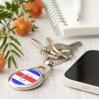 Monogram Letter C (Charlie) Nautical Alphabet Key Ring
