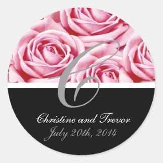 Monogram Letter C Pink Roses Sticker