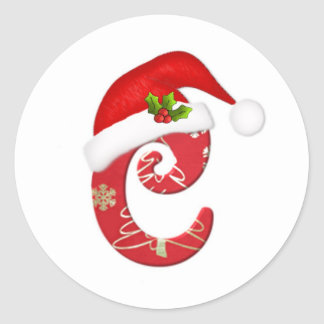 Monogram letter C, Santa hat Christmas  Sticker