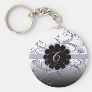 Monogram Letter C Violet Basic Round Button Key Ring
