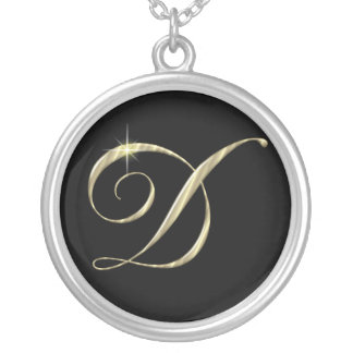 Monogram Letter D initial Necklace Sterling Silver Round Pendant Necklace