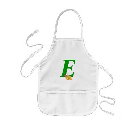 Monogram letter E brian the snail kids apron