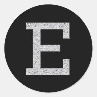 Monogram Letter E Classic Round Sticker