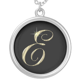 Monogram Letter E initial Necklace Sterling Silver Round Pendant Necklace