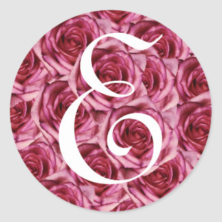 Monogram Letter E Pink Roses Sticker